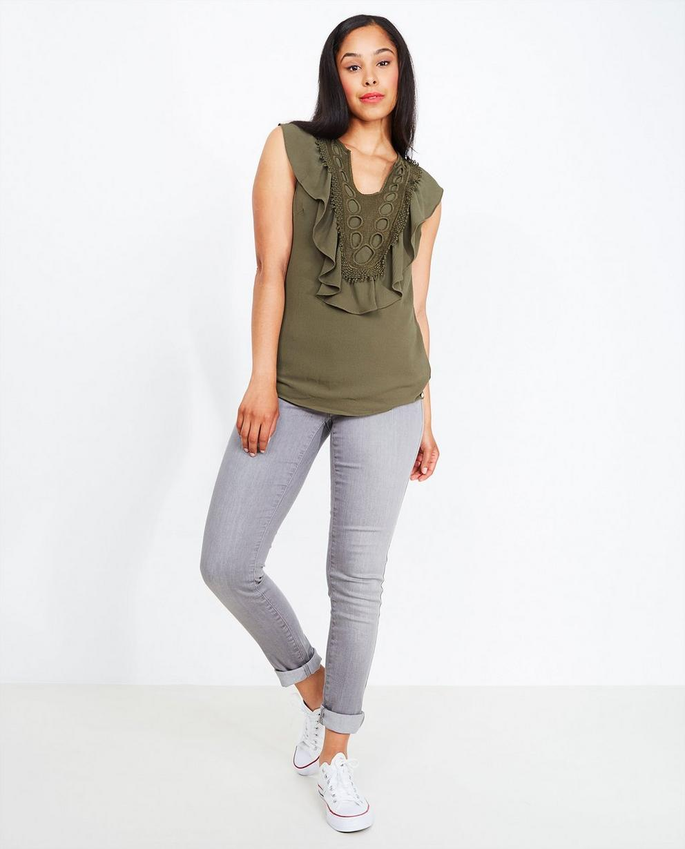 Jeans skinny gris clair - effet légèrement délavé - JBC